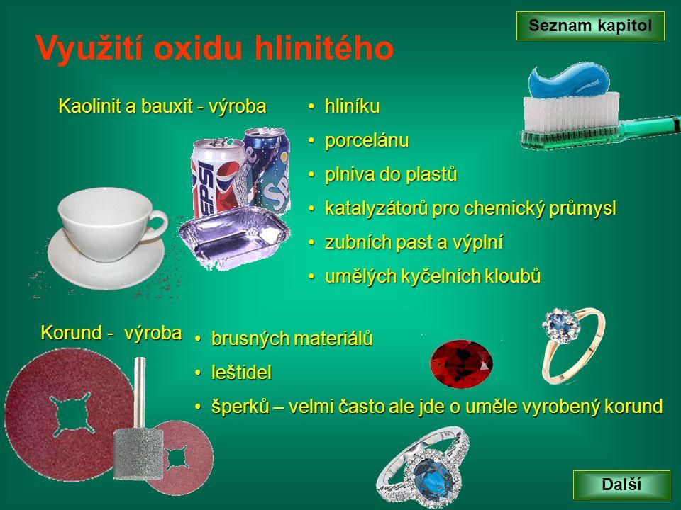 Kaolinit a bauxit - výroba Seznam kapitol Další Využití oxidu hlinitého h hliníku p porcelánu lniva do plastů k katalyzátorů pro chemický průmysl z zubních past a výplní u umělých kyčelních kloubů Korund - výroba b brusných materiálů l leštidel š šperků – velmi často ale jde o uměle vyrobený korund