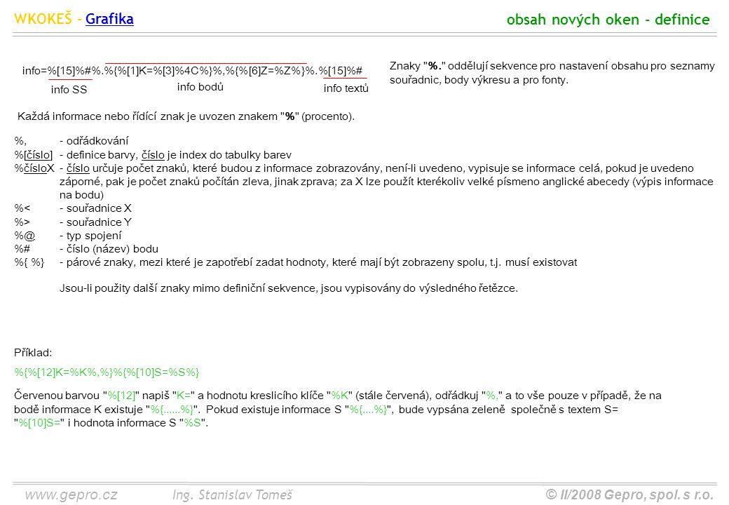 www.gepro.cz© II/2008 Gepro, spol. s r.o. WKOKEŠ - Ing. Stanislav Tomeš obsah nových oken - definice Grafika Znaky