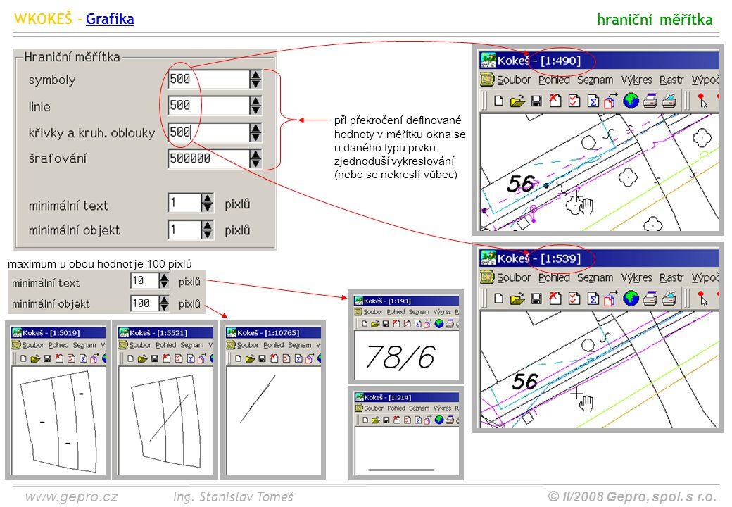 www.gepro.cz© II/2008 Gepro, spol. s r.o. WKOKEŠ - Ing. Stanislav Tomeš hraniční měřítka Grafika při překročení definované hodnoty v měřítku okna se u