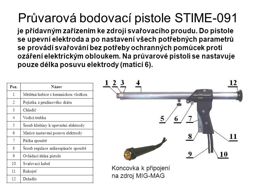 Průvarová bodovací pistole STIME-091 je přídavným zařízením ke zdroji svařovacího proudu. Do pistole se upevní elektroda a po nastavení všech potřebný