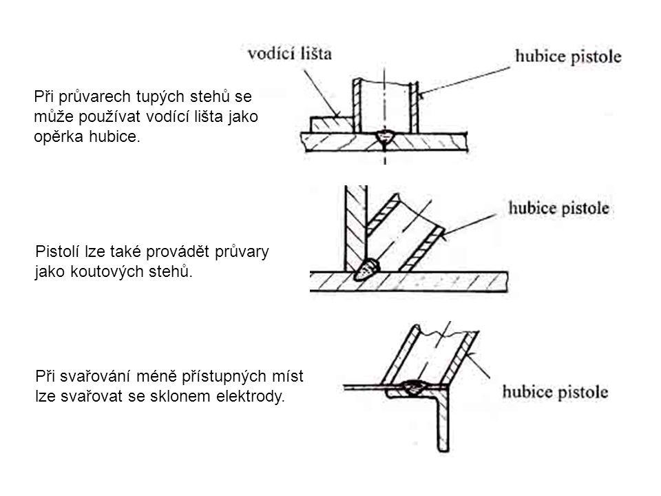 Při průvarech tupých stehů se může používat vodící lišta jako opěrka hubice. Pistolí lze také provádět průvary jako koutových stehů. Při svařování mén
