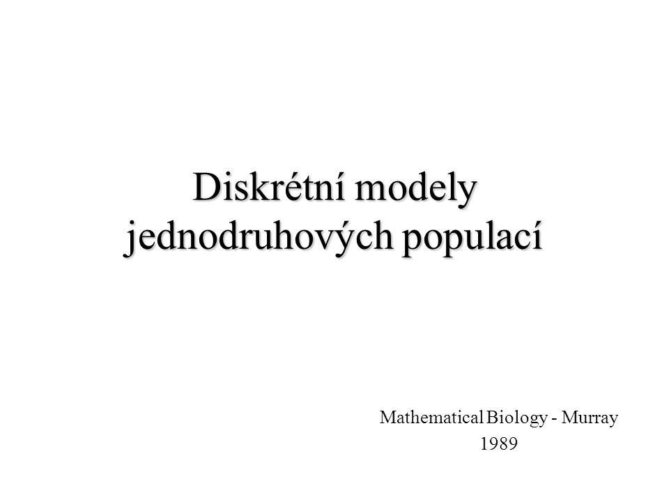 Diskrétní modely jednodruhových populací Mathematical Biology - Murray 1989