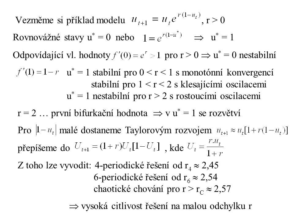 Vezměme si příklad modelu, r > 0 Rovnovážné stavy u * = 0 nebo  u * = 1 Odpovídající vl. hodnoty pro r > 0  u * = 0 nestabilní u * = 1 stabilní pro