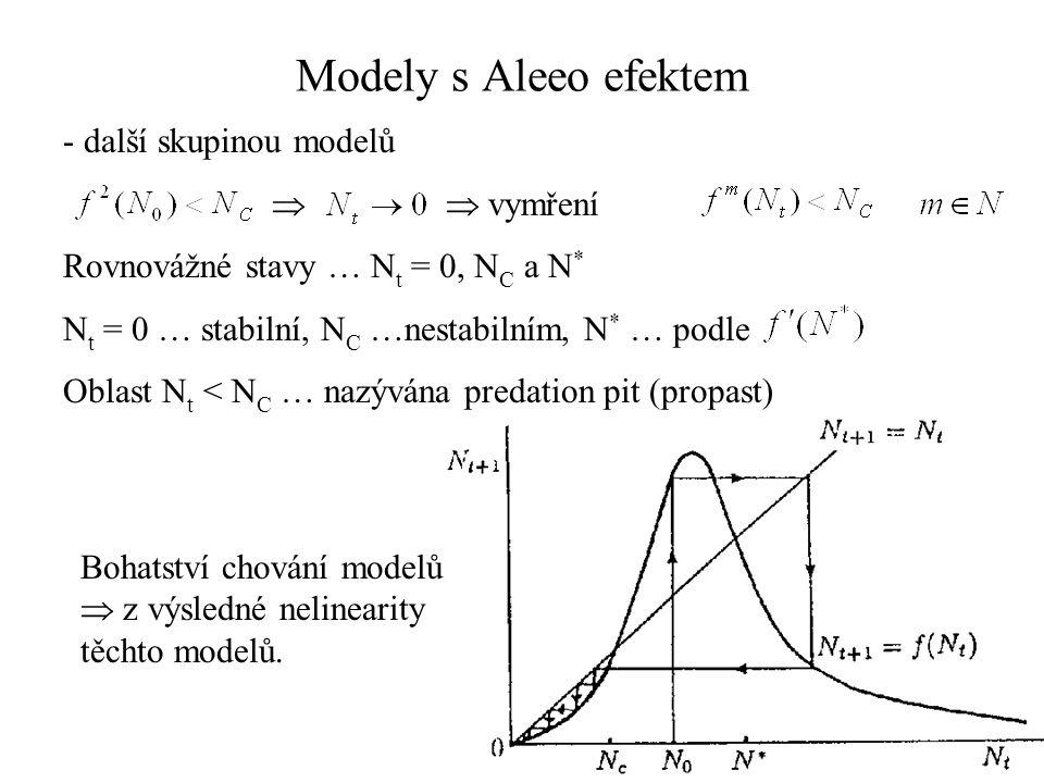 - další skupinou modelů   vymření Rovnovážné stavy … N t = 0, N C a N * N t = 0 … stabilní, N C …nestabilním, N * … podle Oblast N t < N C … nazýván