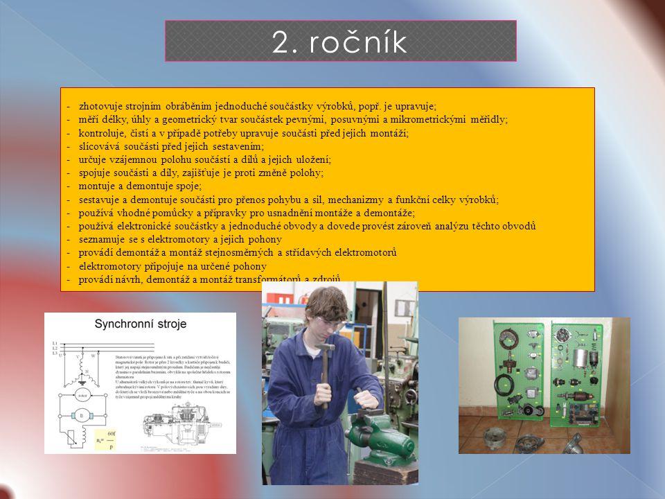 2. ročník -zhotovuje strojním obráběním jednoduché součástky výrobků, popř.