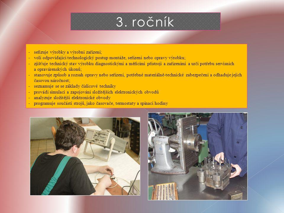 3. ročník - seřizuje výrobky a výrobní zařízení; - volí odpovídající technologický postup montáže, seřízení nebo opravy výrobku; -zjišťuje technický s