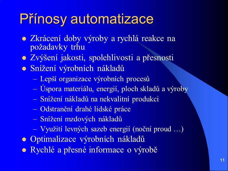 11 Přínosy automatizace Zkrácení doby výroby a rychlá reakce na požadavky trhu Zvýšení jakosti, spolehlivosti a přesnosti Snížení výrobních nákladů –L