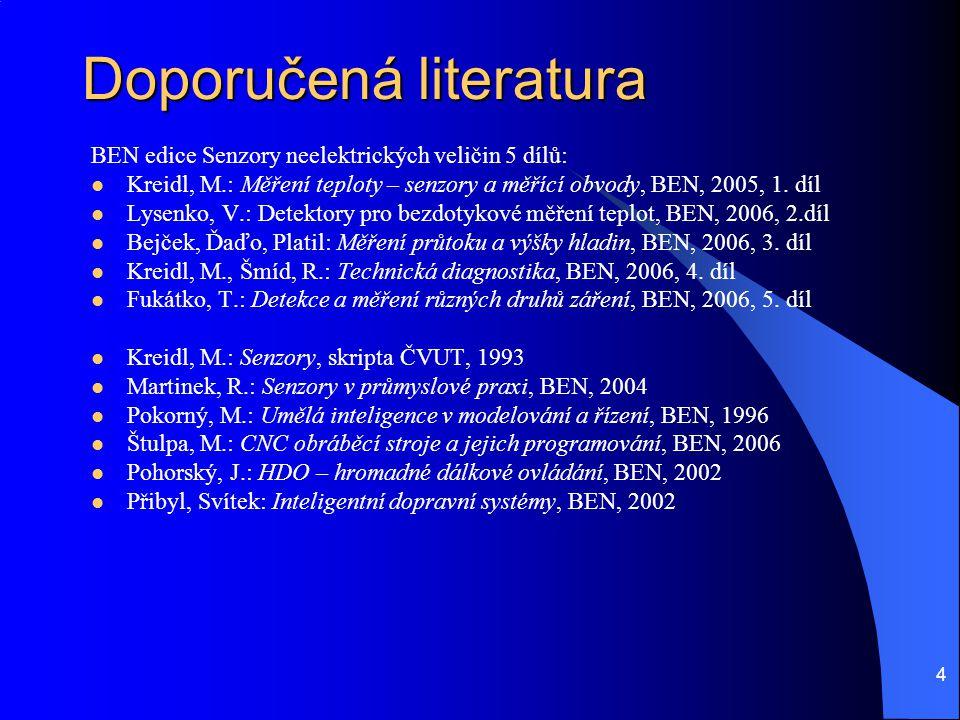 4 Doporučená literatura BEN edice Senzory neelektrických veličin 5 dílů: Kreidl, M.: Měření teploty – senzory a měřící obvody, BEN, 2005, 1. díl Lysen