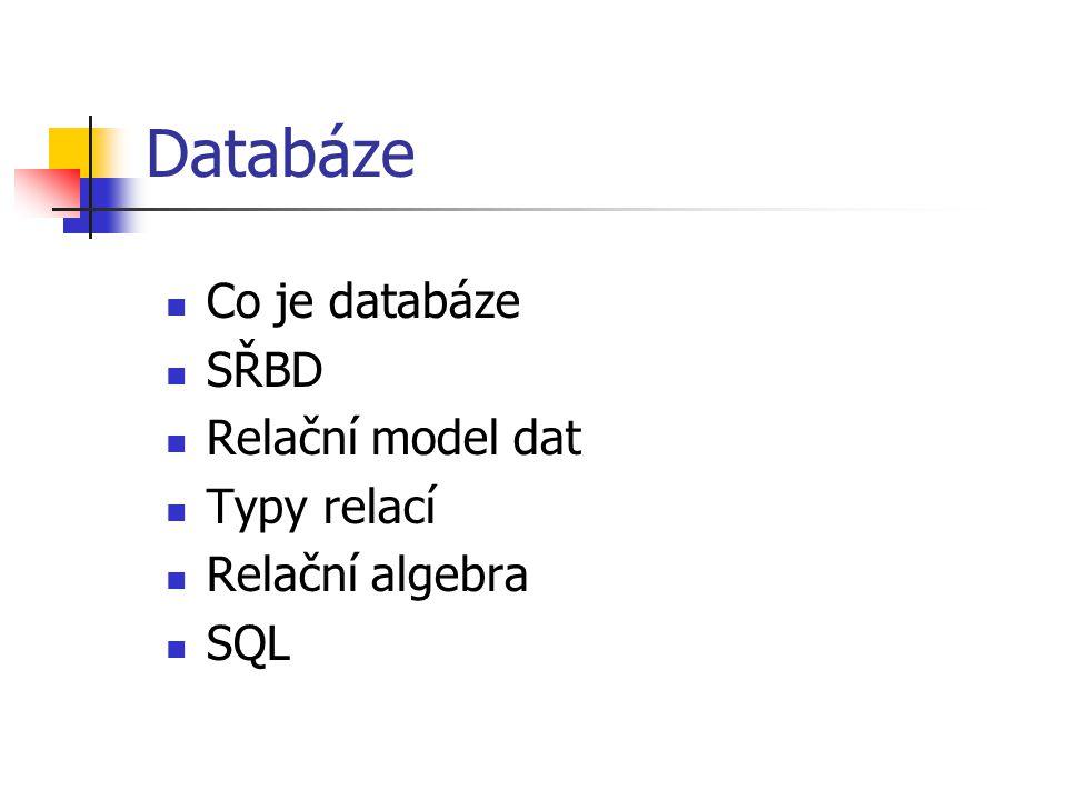 Databáze Uspořádaná množina informací Místo, kde se ukládají všechny potřebné údaje.