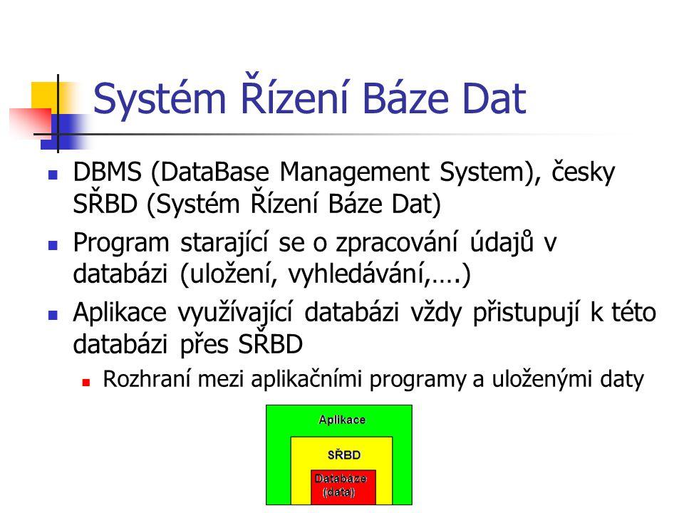 Funkce SŘBD Základní funkce SŘBD definice dat, vytváření slovníku dat manipulace s daty zajištění bezpečnosti a integrity dat zotavení po chybách a souběžný přístup - transakční zpracování zajištění co nejvyšší výkonnosti