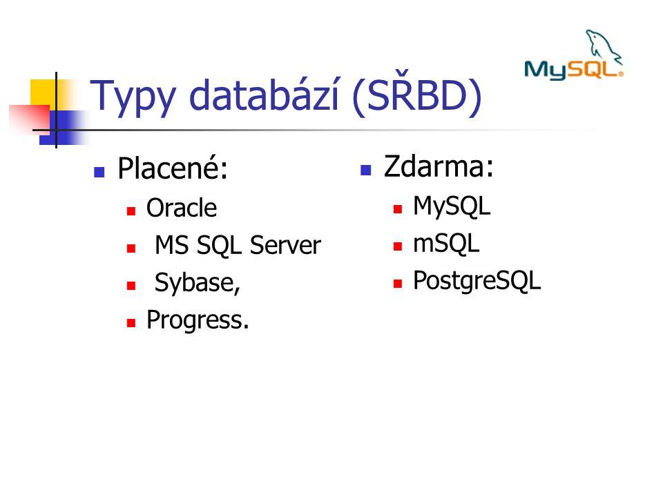 Relační model Relační model – 1970 teorie, 1975 System R (IBM) Struktura dat: Na logické úrovni jsou data strukturována do tabulek, hodnoty v tabulce musí být z hlediska významu atomické (skalární).