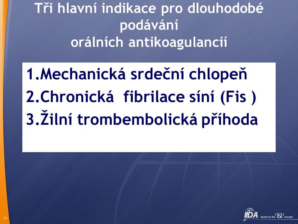 11 Tři hlavní indikace pro dlouhodobé podávání orálních antikoagulancií 1.Mechanická srdeční chlopeň 2.Chronická fibrilace síní (Fis ) 3.Žilní trombembolická příhoda