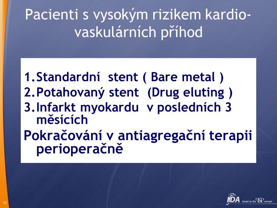 12 Pacienti s vysokým rizikem kardio- vaskulárních příhod 1.Standardní stent ( Bare metal ) 2.Potahovaný stent (Drug eluting ) 3.Infarkt myokardu v posledních 3 měsících Pokračování v antiagregační terapii perioperačně