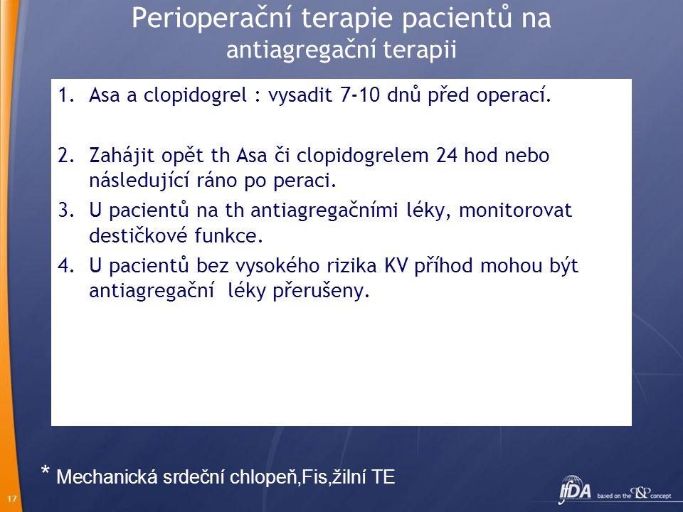 17 Perioperační terapie pacientů na antiagregační terapii 1.Asa a clopidogrel : vysadit 7-10 dnů před operací. 2.Zahájit opět th Asa či clopidogrelem
