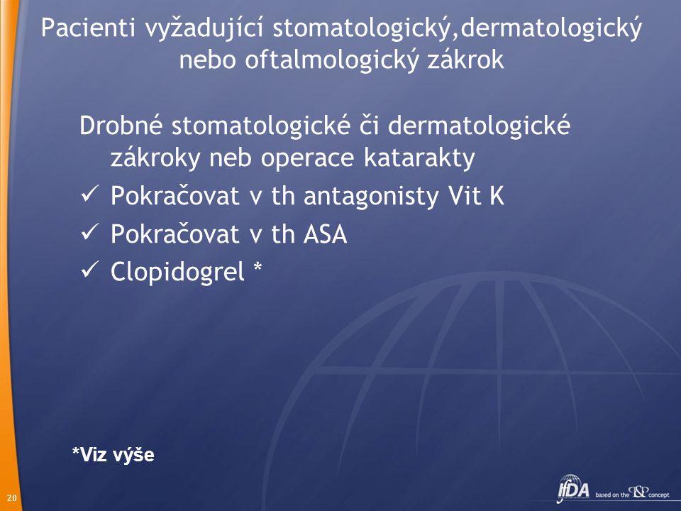 20 Pacienti vyžadující stomatologický,dermatologický nebo oftalmologický zákrok Drobné stomatologické či dermatologické zákroky neb operace katarakty Pokračovat v th antagonisty Vit K Pokračovat v th ASA Clopidogrel * *Viz výše