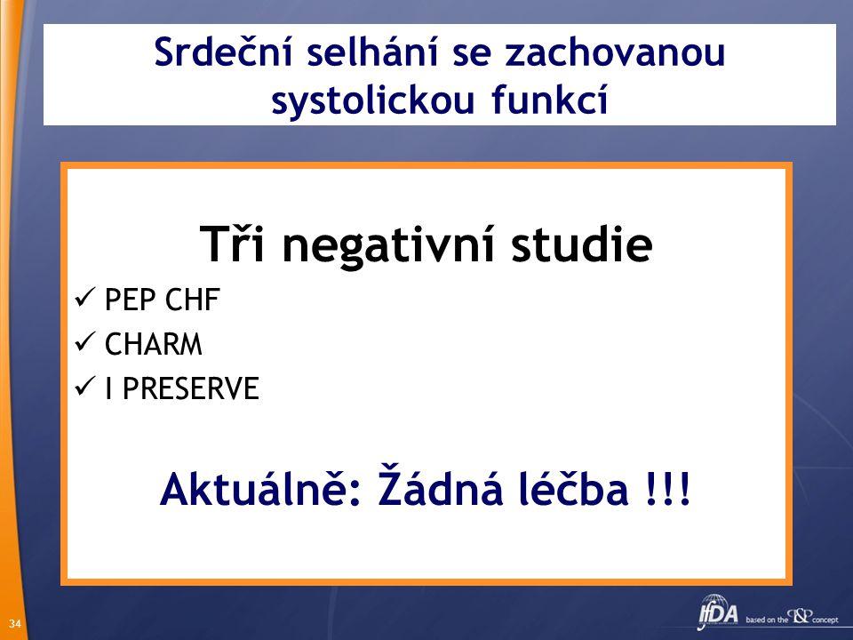 34 Srdeční selhání se zachovanou systolickou funkcí Tři negativní studie PEP CHF CHARM I PRESERVE Aktuálně: Žádná léčba !!!