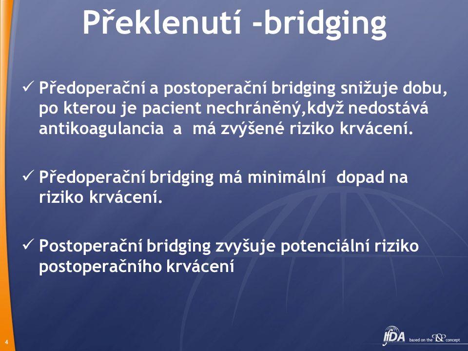 4 Překlenutí -bridging Předoperační a postoperační bridging snižuje dobu, po kterou je pacient nechráněný,když nedostává antikoagulancia a má zvýšené riziko krvácení.