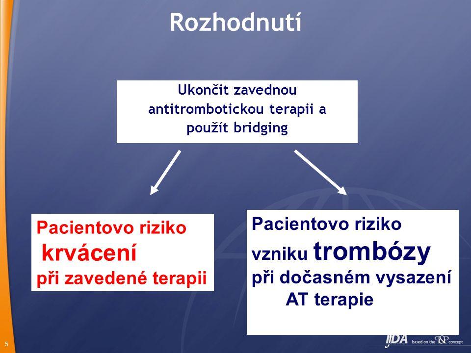5 Rozhodnutí Ukončit zavednou antitrombotickou terapii a použít bridging Pacientovo riziko krvácení při zavedené terapii Pacientovo riziko vzniku trombózy při dočasném vysazení AT terapie