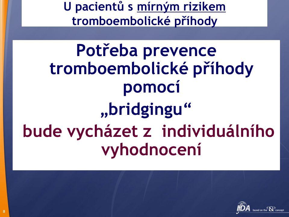 """8 U pacientů s mírným rizikem tromboembolické příhody Potřeba prevence tromboembolické příhody pomocí """"bridgingu"""" bude vycházet z individuálního vyhod"""