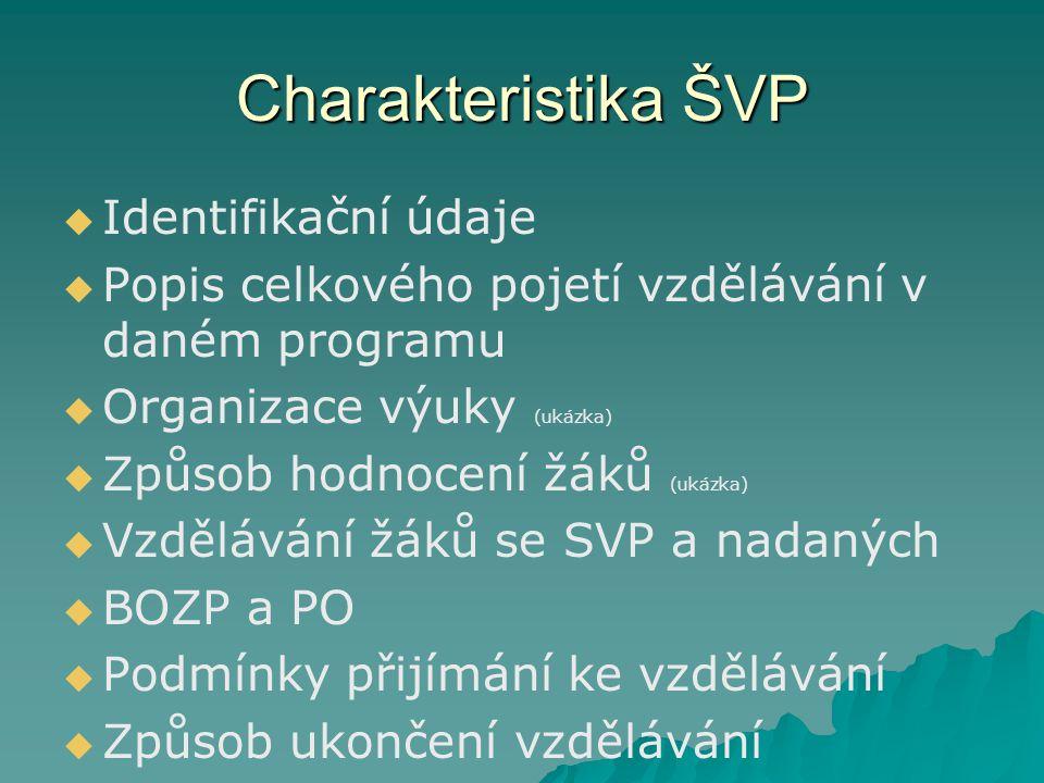 Charakteristika ŠVP   Identifikační údaje   Popis celkového pojetí vzdělávání v daném programu   Organizace výuky (ukázka)   Způsob hodnocení žáků (ukázka)   Vzdělávání žáků se SVP a nadaných   BOZP a PO   Podmínky přijímání ke vzdělávání   Způsob ukončení vzdělávání