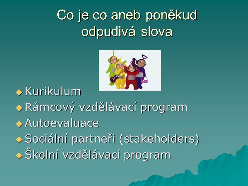 Co je co aneb poněkud odpudivá slova  Kurikulum  Rámcový vzdělávací program  Autoevaluace  Sociální partneři (stakeholders)  Školní vzdělávací pr