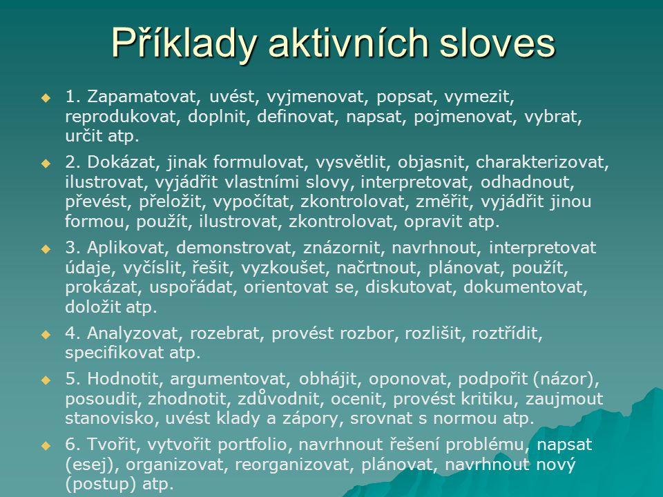 Příklady aktivních sloves   1.