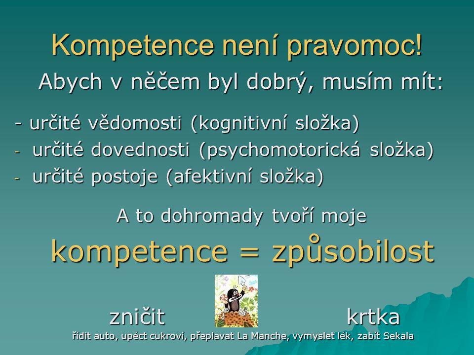 Kompetence není pravomoc! Abych v něčem byl dobrý, musím mít: - určité vědomosti (kognitivní složka) - určité dovednosti (psychomotorická složka) - ur