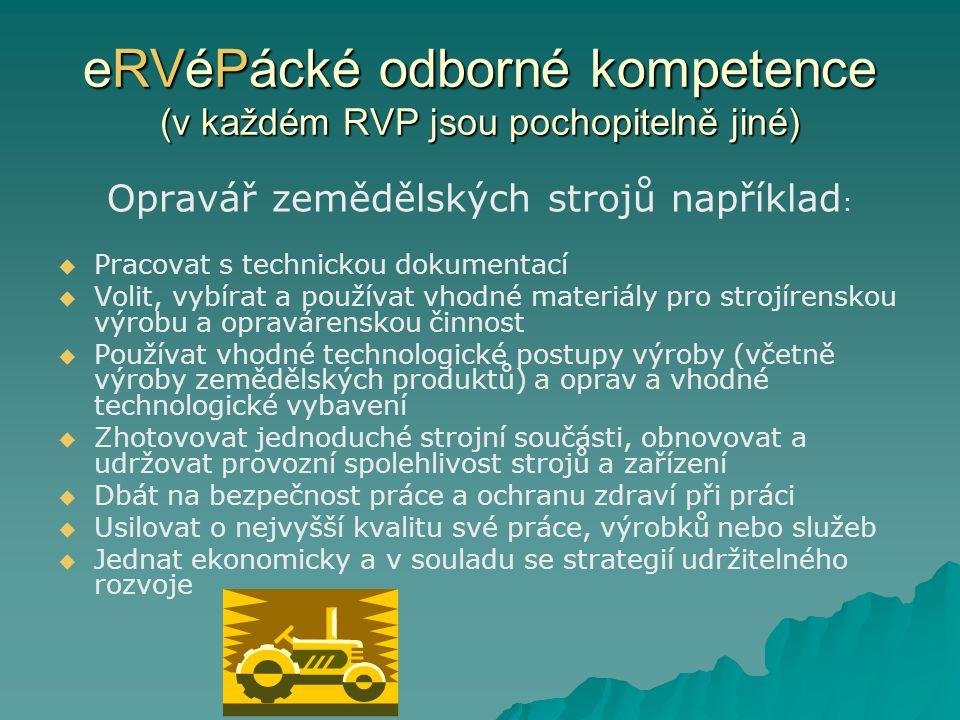 eRVéPácké odborné kompetence (v každém RVP jsou pochopitelně jiné) Opravář zemědělských strojů například :   Pracovat s technickou dokumentací   V