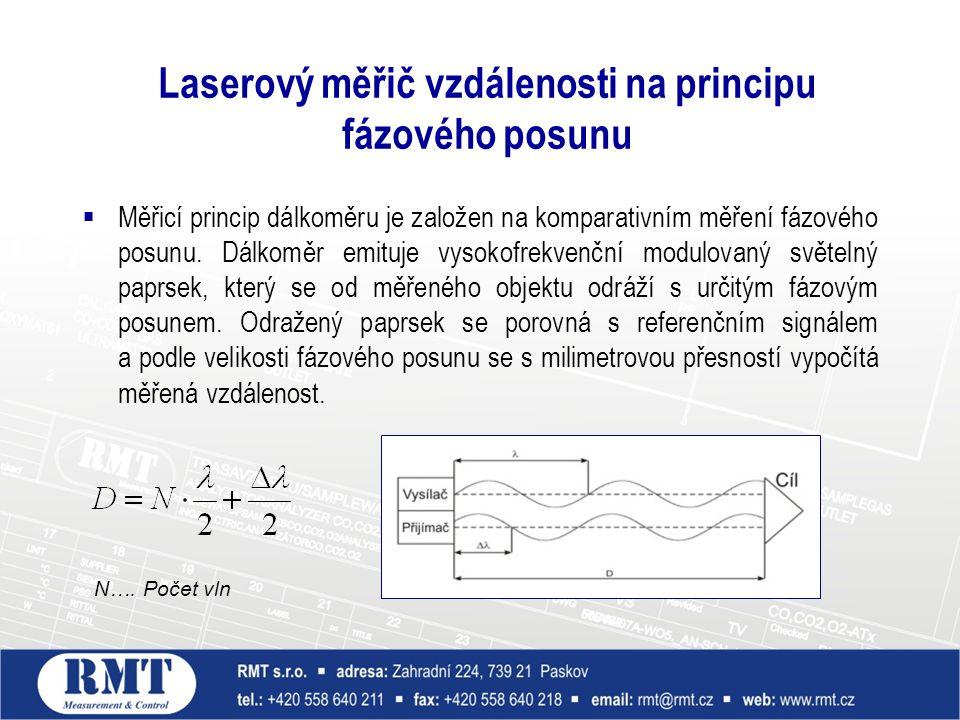  Měřicí princip dálkoměru je založen na komparativním měření fázového posunu. Dálkoměr emituje vysokofrekvenční modulovaný světelný paprsek, který se