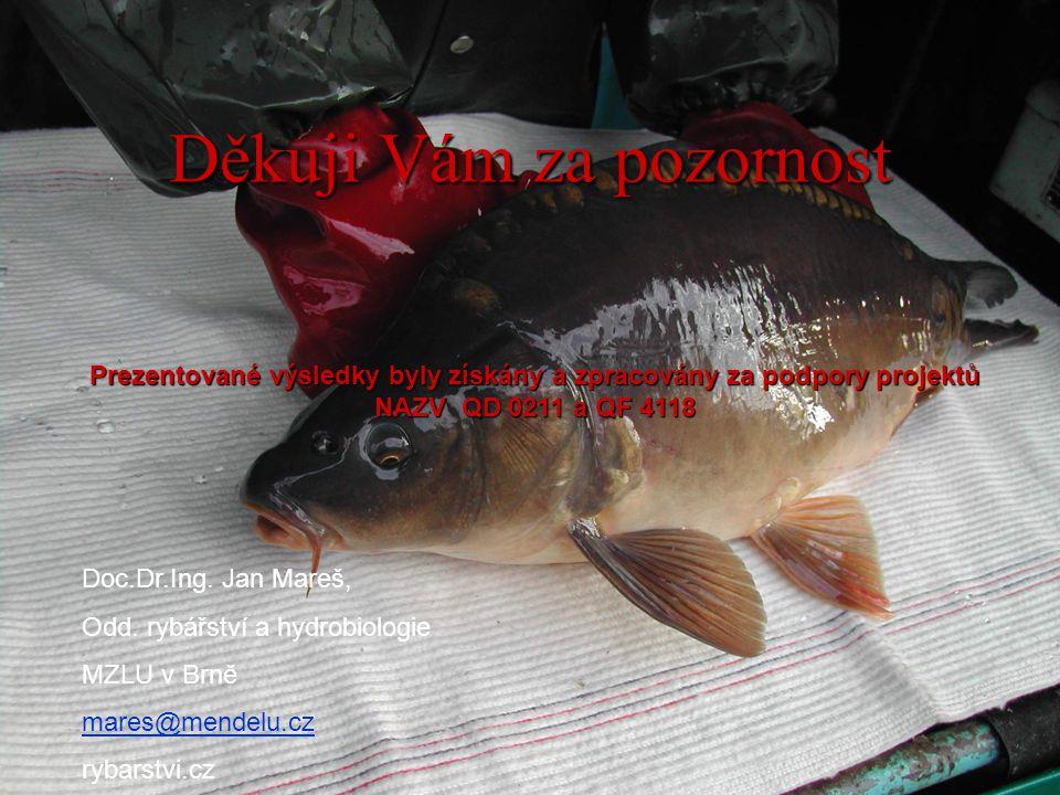 Děkuji Vám za pozornost Doc.Dr.Ing. Jan Mareš, Odd. rybářství a hydrobiologie MZLU v Brně mares@mendelu.cz rybarstvi.cz Prezentované výsledky byly zís