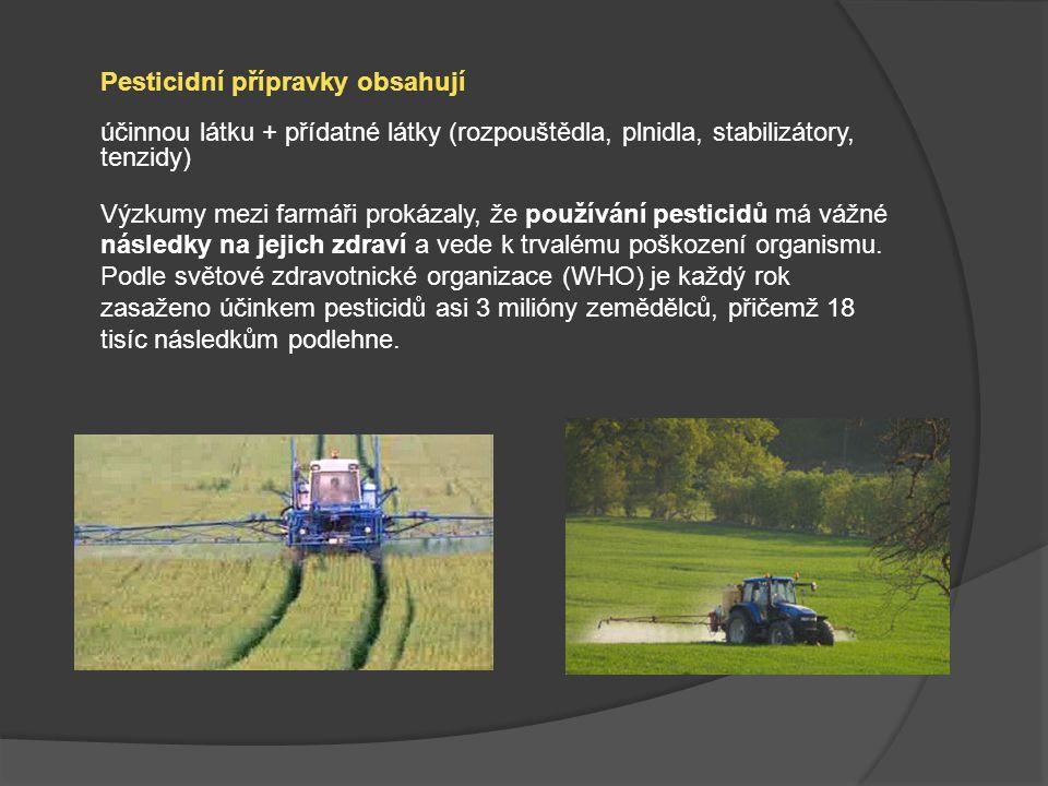 Pesticidní přípravky obsahují účinnou látku + přídatné látky (rozpouštědla, plnidla, stabilizátory, tenzidy) Výzkumy mezi farmáři prokázaly, že použív