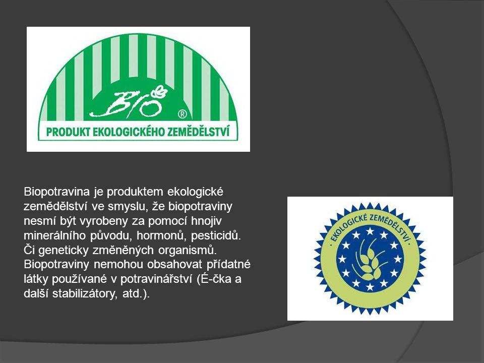 Biopotravina je produktem ekologické zemědělství ve smyslu, že biopotraviny nesmí být vyrobeny za pomocí hnojiv minerálního původu, hormonů, pesticidů