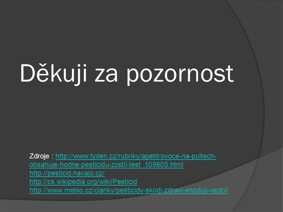 Děkuji za pozornost Zdroje : http://www.tyden.cz/rubriky/apetit/ovoce-na-pultech- obsahuje-hodne-pesticidu-zjistil-test_109805.htmlhttp://www.tyden.cz