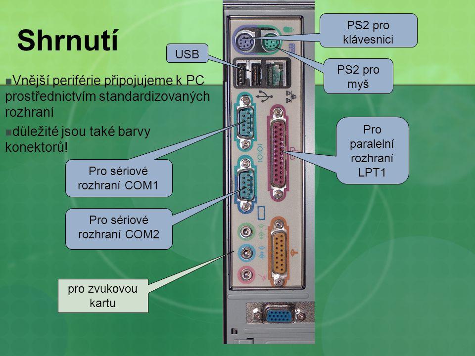 Shrnutí Vnější periférie připojujeme k PC prostřednictvím standardizovaných rozhraní důležité jsou také barvy konektorů.