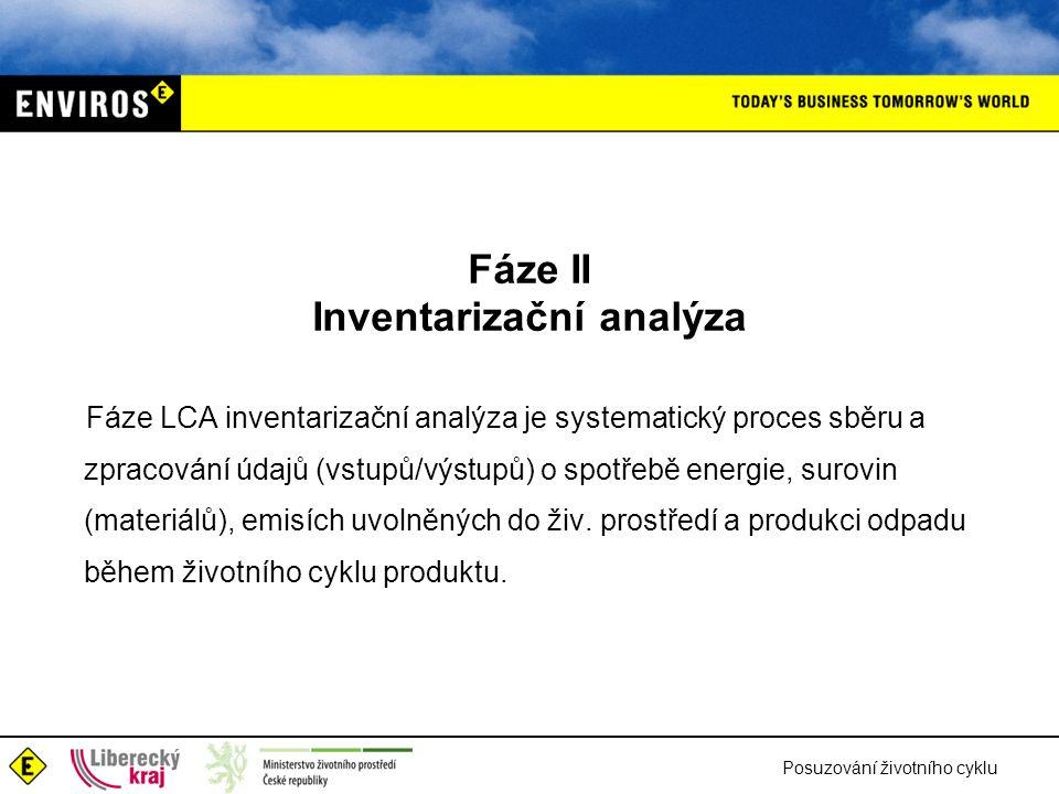 Posuzování životního cyklu Fáze II Inventarizační analýza Fáze LCA inventarizační analýza je systematický proces sběru a zpracování údajů (vstupů/výst