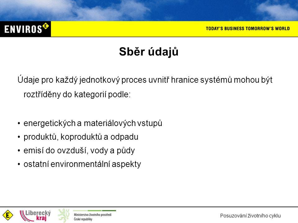 Posuzování životního cyklu Sběr údajů Údaje pro každý jednotkový proces uvnitř hranice systémů mohou být roztříděny do kategorií podle: energetických