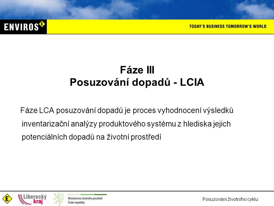 Posuzování životního cyklu Fáze III Posuzování dopadů - LCIA Fáze LCA posuzování dopadů je proces vyhodnocení výsledků inventarizační analýzy produkto