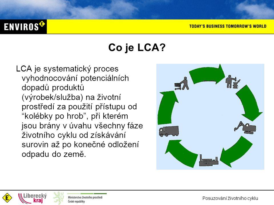 Posuzování životního cyklu Co je LCA? LCA je systematický proces vyhodnocování potenciálních dopadů produktů (výrobek/služba) na životní prostředí za