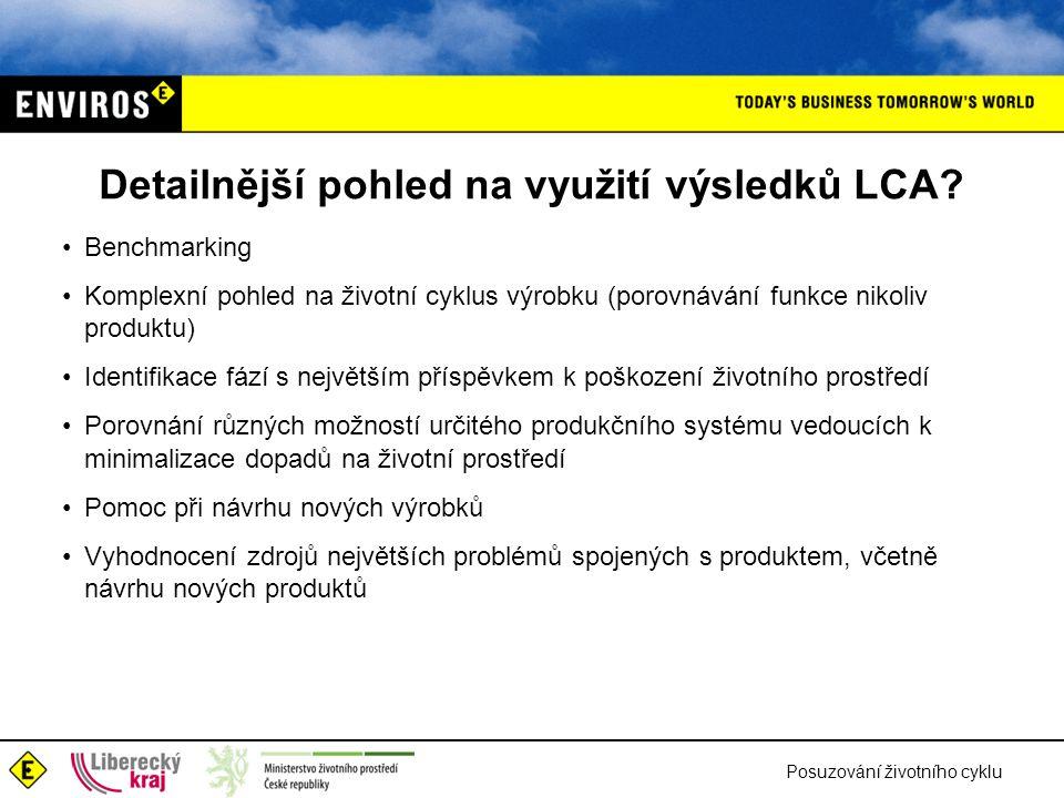 Posuzování životního cyklu Detailnější pohled na využití výsledků LCA? Benchmarking Komplexní pohled na životní cyklus výrobku (porovnávání funkce nik
