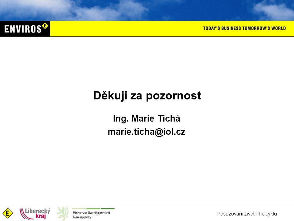 Posuzování životního cyklu Děkuji za pozornost Ing. Marie Tichá marie.ticha@iol.cz