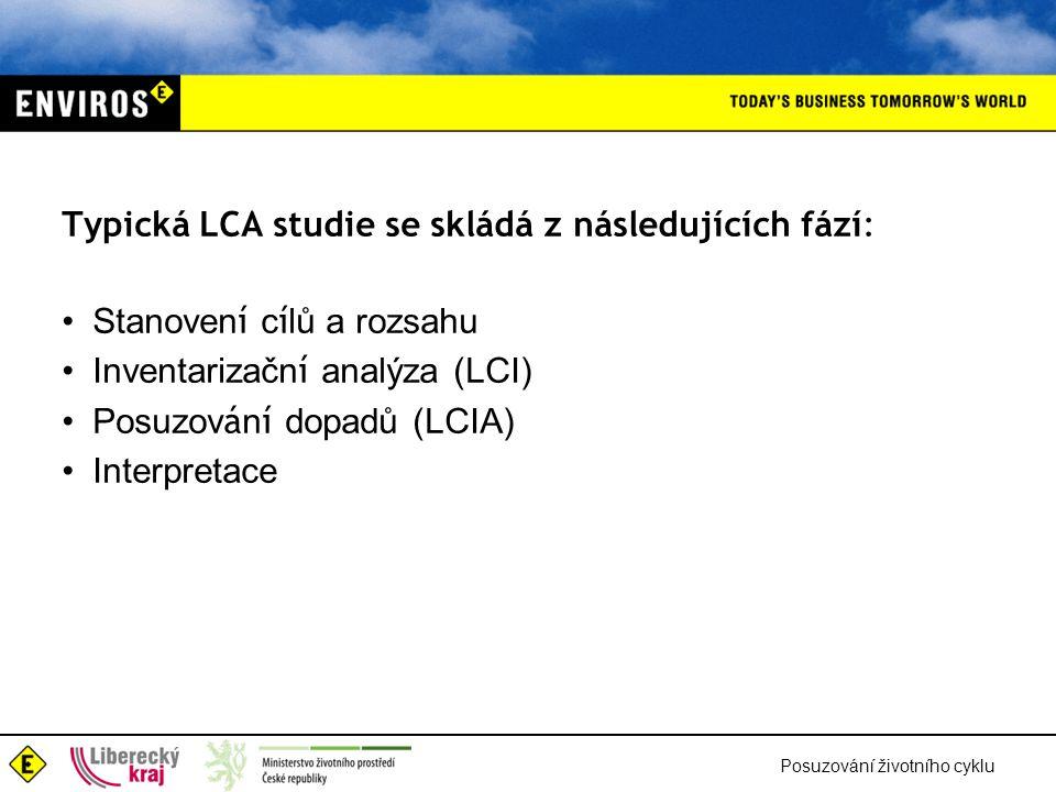Posuzování životního cyklu Typická LCA studie se skládá z následujících fází: Stanoven í c í lů a rozsahu Inventarizačn í analýza (LCI) Posuzov á n í