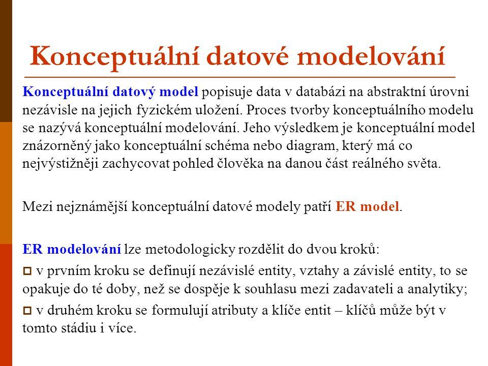 ER modelování  ER model - entitně-relační model založen na dvou typech objektů – entity a vztahy mezi nimi  ER model databáze definuje její konceptuální schéma  standard pro datové modelování  označuje se také jako ERA – třetím základním prvkem modelu jsou atributy (Attributes)  používá se pro strukturovaná data objektové, relační a objektově-relační databáze nevhodné pro multimediální data, XML, text Relační schéma lze vytvořit také přímo z požadavků na aplikaci bez použití ER modelování.