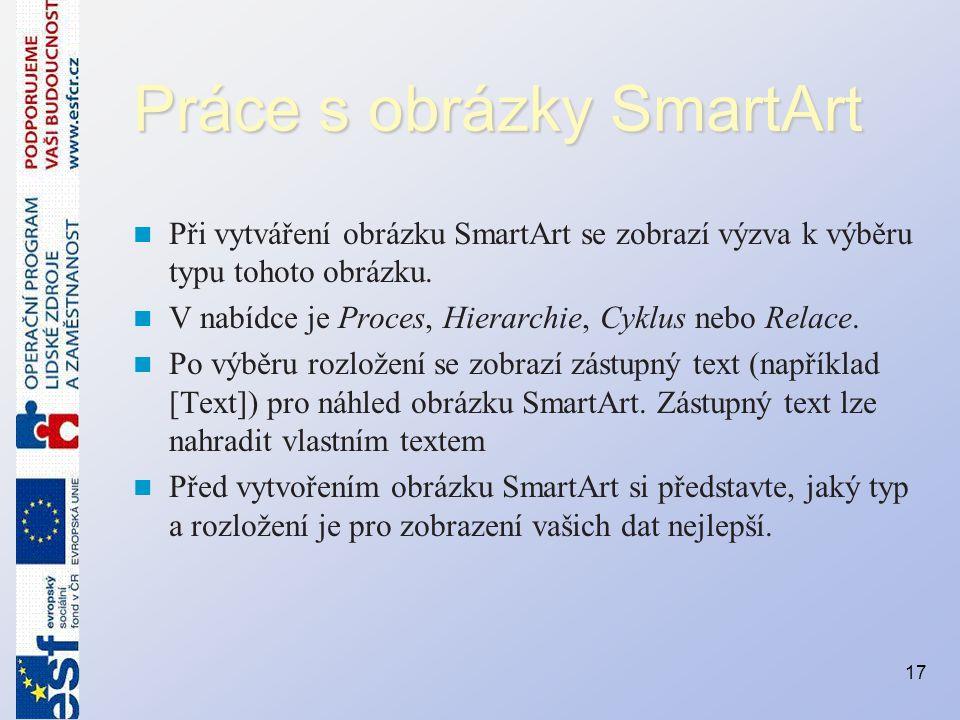 Práce s obrázky SmartArt Při vytváření obrázku SmartArt se zobrazí výzva k výběru typu tohoto obrázku. V nabídce je Proces, Hierarchie, Cyklus nebo Re