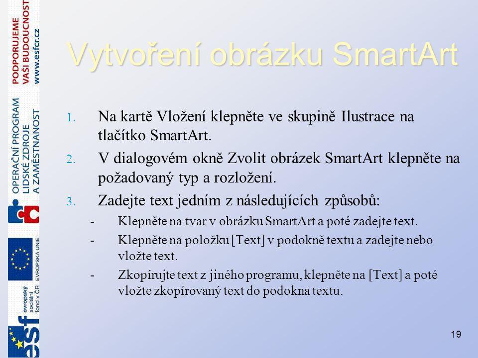 Vytvoření obrázku SmartArt 1. Na kartě Vložení klepněte ve skupině Ilustrace na tlačítko SmartArt. 2. V dialogovém okně Zvolit obrázek SmartArt klepně