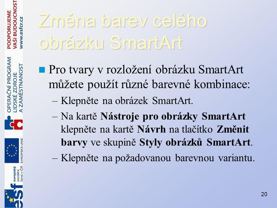 Změna barev celého obrázku SmartArt Pro tvary v rozložení obrázku SmartArt můžete použít různé barevné kombinace: –Klepněte na obrázek SmartArt. –Na k