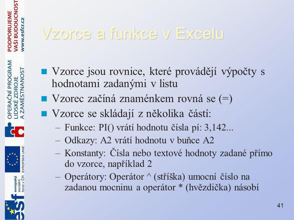 Vzorce a funkce v Excelu Vzorce jsou rovnice, které provádějí výpočty s hodnotami zadanými v listu Vzorec začíná znaménkem rovná se (=) Vzorce se sklá