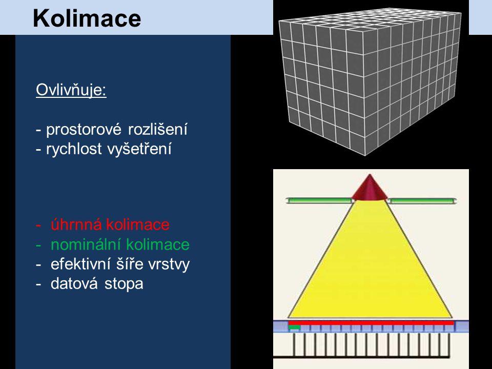 Kolimace - úhrnná kolimace - nominální kolimace - efektivní šíře vrstvy - datová stopa Ovlivňuje: - prostorové rozlišení - rychlost vyšetření