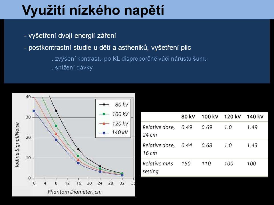 Využití nízkého napětí - vyšetření dvojí energií záření - postkontrastní studie u dětí a astheniků, vyšetření plic. zvýšení kontrastu po KL disproporč
