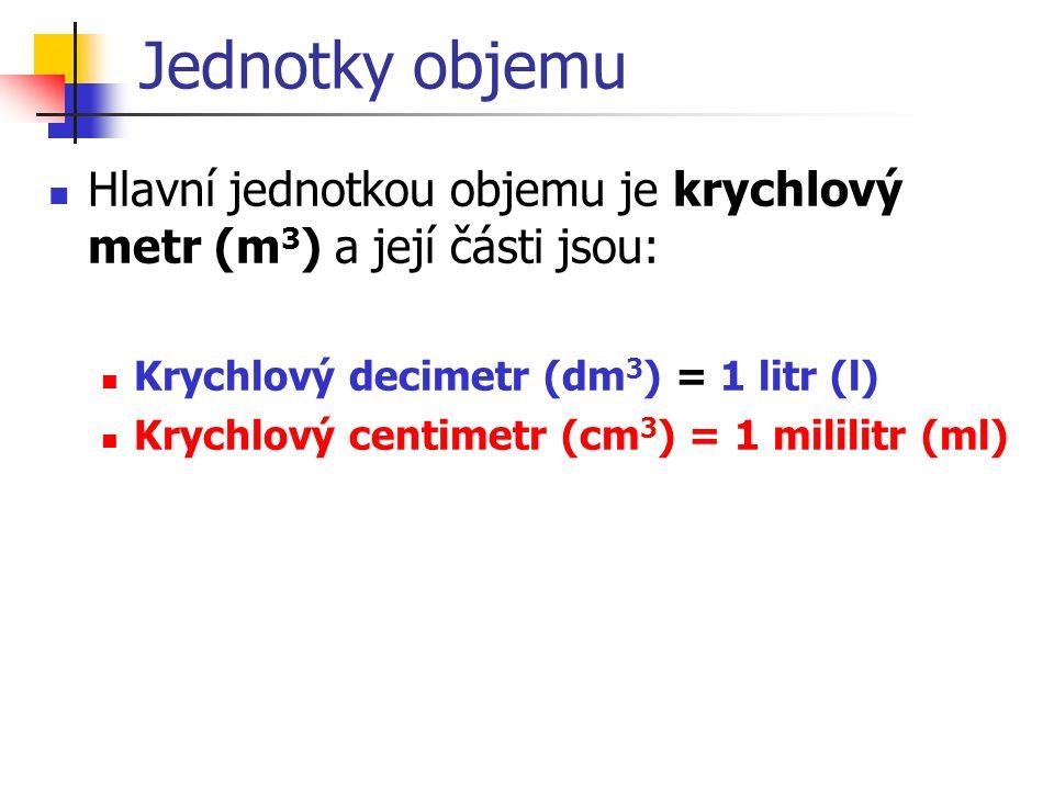Jednotky objemu Hlavní jednotkou objemu je krychlový metr (m 3 ) a její části jsou: Krychlový decimetr (dm 3 ) = 1 litr (l) Krychlový centimetr (cm 3 ) = 1 mililitr (ml)