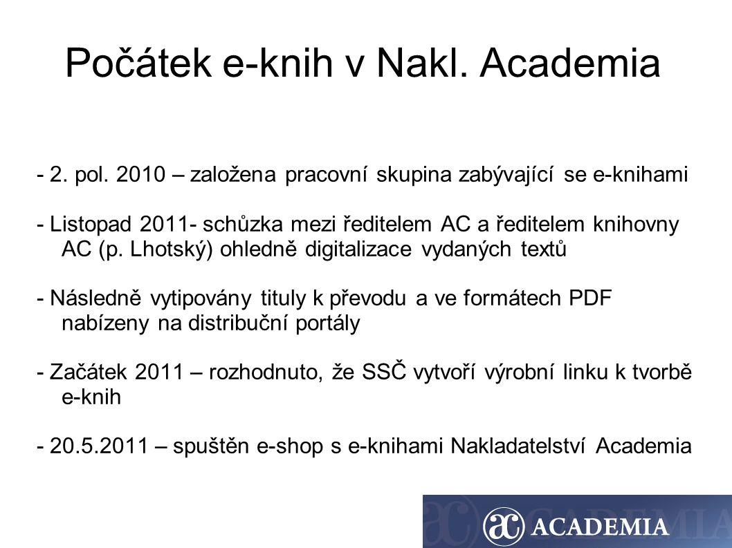 Počátek e-knih v Nakl. Academia - 2. pol. 2010 – založena pracovní skupina zabývající se e-knihami - Listopad 2011- schůzka mezi ředitelem AC a ředite